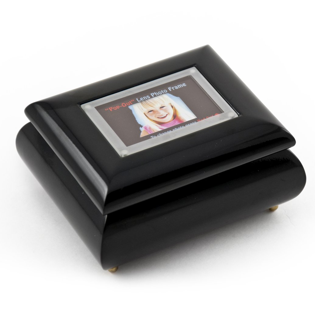 3'' X 2'' Wallet Size Black Lacquer Photo Frame Music Box With New Pop - Over 400 Song Choices - Out Lens System School Oays