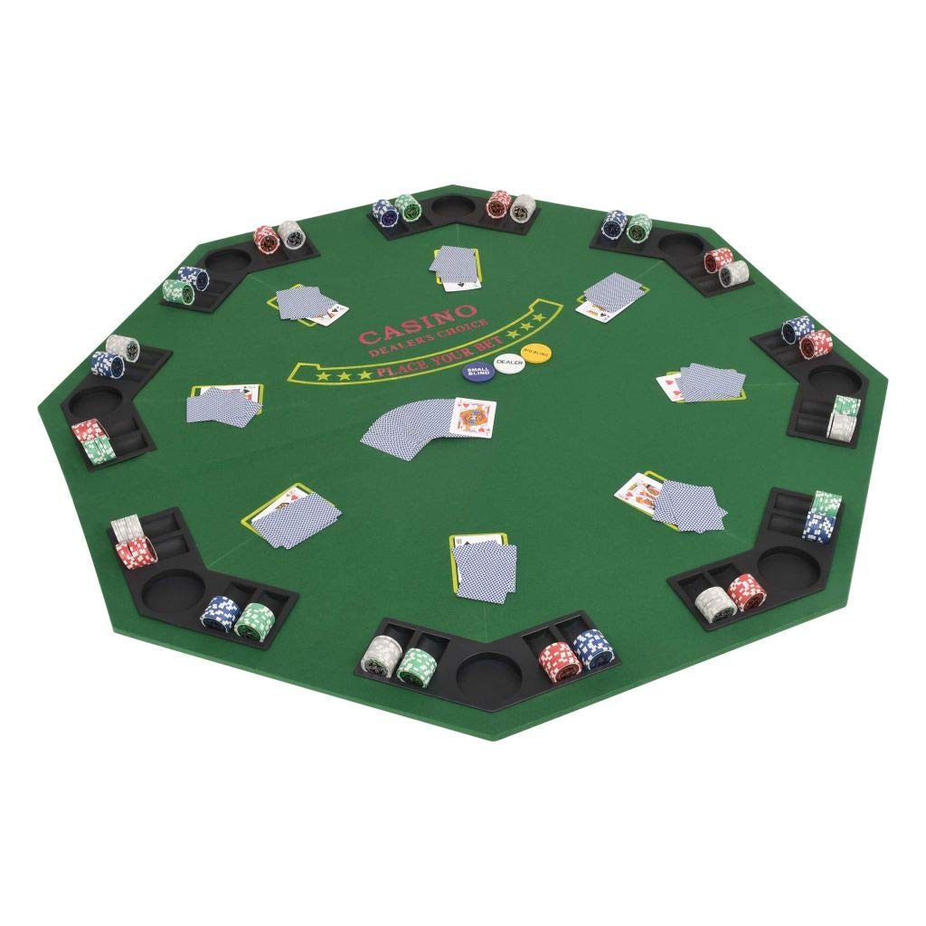 H.BETTER 8 Player Folding Poker Tabletop 2 Fold Octagonal Green by H.BETTER