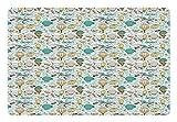 Lunarable Kids Nursery Pet Mat for Food and Water, Cartoon Style Sky Pattern
