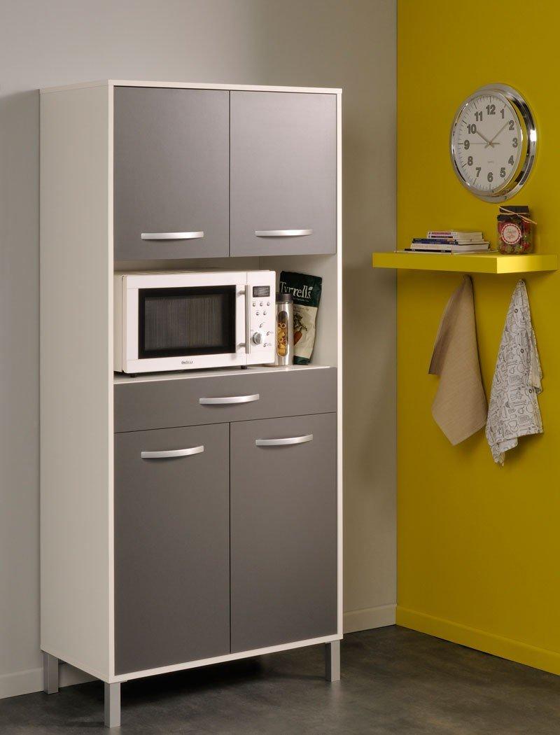 Küchenschrank Opika 4 80x185x43 cm weiß grau Schrank Highboard Küche ...