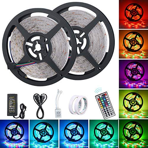 LED Light Strip, XINYI Waterproof Led Strip Light 32.8 Ft SMD 3528 600Leds RGB Color Changing Lights Rope Kits with 44 Key Ir Controller Power Supply for Christmas Home Kitchen Indoor Decoration]()