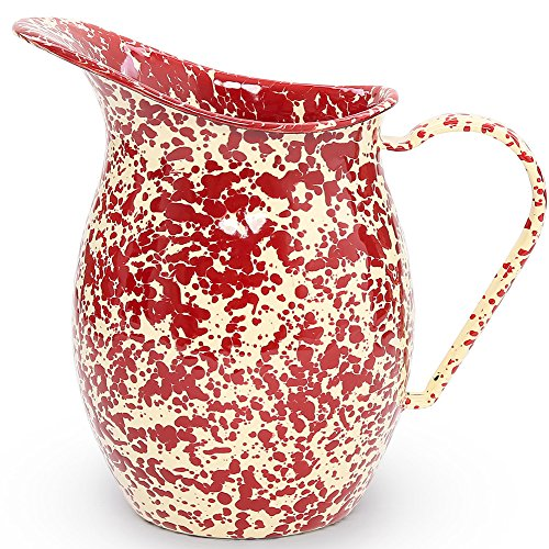 Enamelware Small Pitcher - Burgundy/Cream Marble ()
