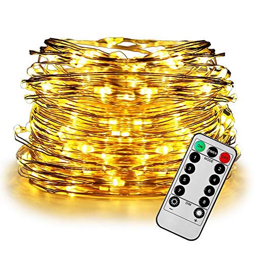 FASTDEER LED String Lights 50ft with 150 LEDs Remote Control Fairy Lights, Battery Operated, 8 Modes, Waterproof Outdoor & Indoor Decorative Lights for Bedroom, Garden, Parties (Warm White) from FASTDEER
