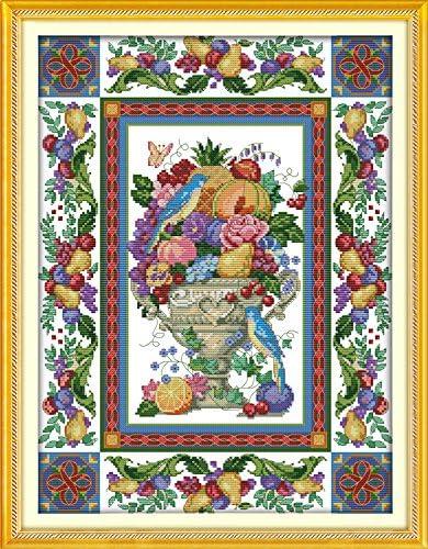 47cm/×61 or 18.33/×23.79 Joy Sunday Cross Stitch Kits,Still Life Style,Gorgeous Fruit Bowl,11CT Counted
