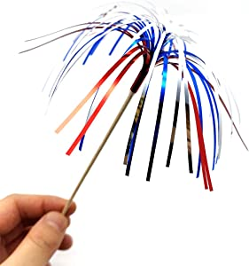 100 Pack 4th of July Cocktail Picks Patriotic Decorative Red White Blue Firework Picks Cupcake Drink Sticks Independence Day Party Supplies