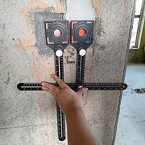 ALOOVOO R/ègle de p/êcheur /à la Ligne avec Ouverture de positionnement de tuile gabarit angularisateur Multi de Mesure dangle dalliage daluminium pour Le ma/çon