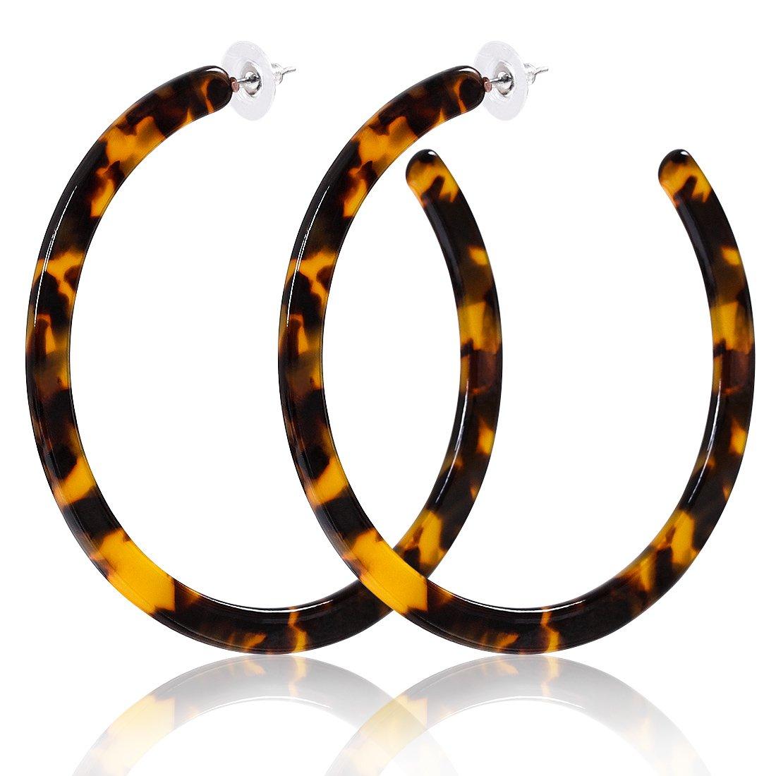 Resin Hoop Earrings Mottled Tortoiseshell Acrylic Earrings Round Circle Boho Statement Earrings for Women(G Large Dark Brown)
