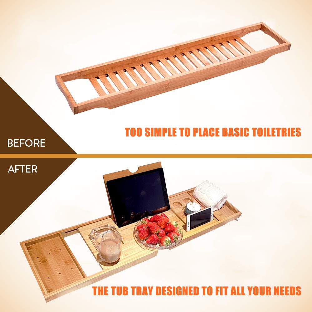 Weehey Badewanne Caddy Tablett Bamboo Spa Badewanne Caddy Organizer Buch Wein Tablet Halter Lesest/änder rutschfeste Unterseite ausziehbare Seiten