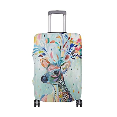 Luggage Protective Covers with Watercolor Painting Elk Pattern Washable Travel Luggage Cover 18-32 Inch