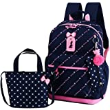 Adanina 3pcs Heart Bowknot Prints Elementary School Bag Primary School Backpack Sets with Lunch Bags