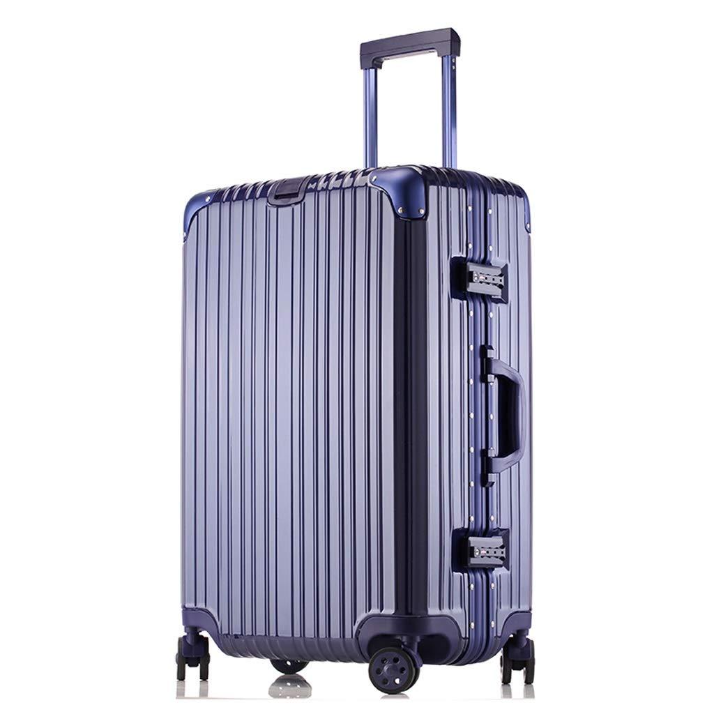 ZHAOSHUHLI スーツケース旅行トロリーケースアルミフレームトロリーケースユニバーサルホイールスーツケース男性学生パスワードボックス荷物女性バッグアングル (Color : Blue, Size : 22'' [two locks]) B07R1KVRPX Blue 22'' [two locks]