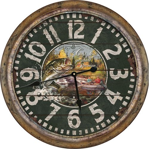 Fishing Clock - Rivers Edge Products 26-Inch Distressed Fishing Clock