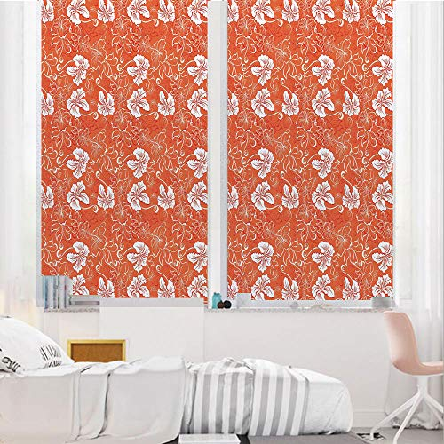 Orange 3D No Glue Static Decorative Privacy Window Films, Hawaiian Pattern with Tropical Climate Hibiscus Flowers Abstract Summer Flourish Decorative,24