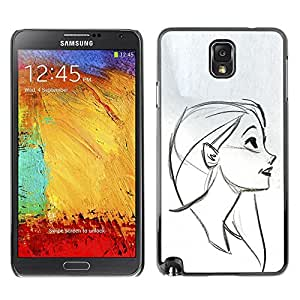 Ihec Tech Cara Retrato Perfil Chica Dibujo Lápiz / Funda Case back Cover guard / for Samsung Note 3 N9000