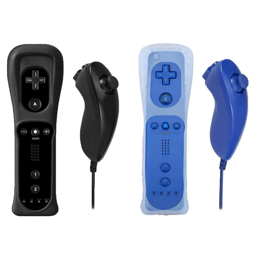 Poulep 2 Packs Gesture Controller and Nunchuck Joystick with Silicone Case for Nintendo Wii Wii U Gamepad Console (Black and Deep Blue)