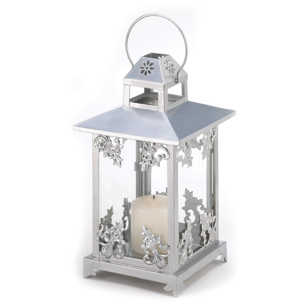 Silver Scrollwork Candle Lantern Wedding Center Piece Pack of 10