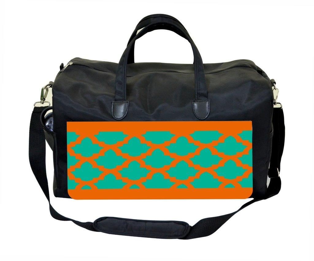 Jade and Orange Lattice Pattern Print Design Weekender//Overnighter Bag