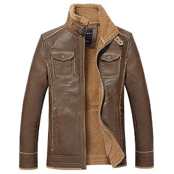 Hombre y niños chaqueta piel Invierno otoño,Sonnena ⚽ hombre casual moda chaqueta cuero de ciclistas manga larga delgado cremallera color liso al aire ...