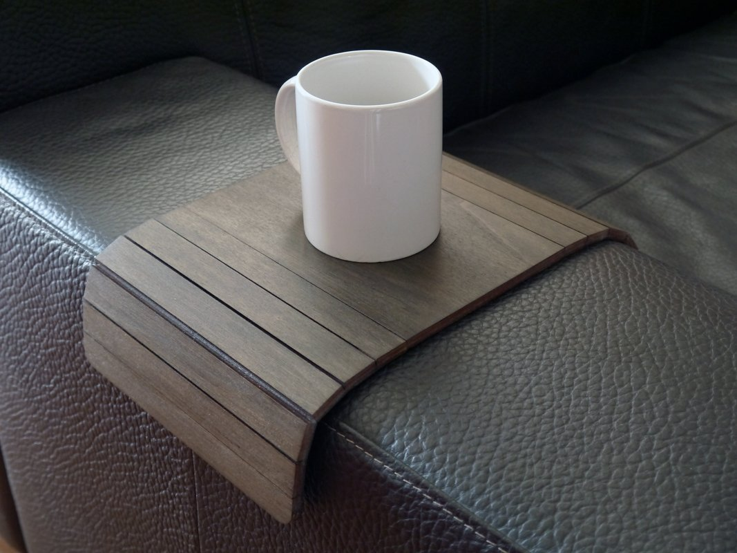 Wooden sofa armrest table in many colors as wenge Small flexible over the couch side tables Narrow folding dining slinky arm tray Armchair trays server drink Slim wrap covers furniture