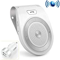 Wireless Car Speaker, Aigital Bluetooth in-Car Speakerphone on Sun Visor, Clear Sound for Handsfree Calling Music, AUTO Power ON Function - White