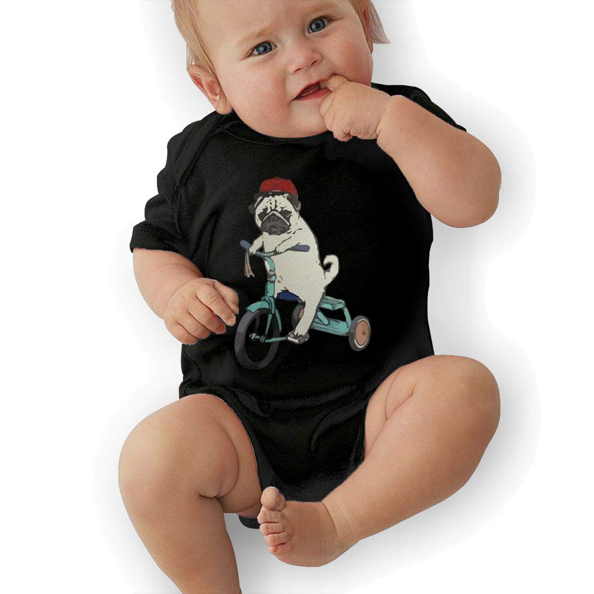 Newborn Baby Short Sleeve Jumpsuit Funny Ride Pug Baby Rompers