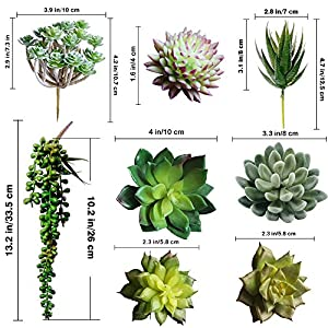 Supla Pack of 14 Assorted Artificial Succulents Picks Textured Aloe Faux Succulent Pick Succulent Stems Fake succulent bouquet String of Pearls Succulent Faux Succulent Floral Arrangement Accent 2
