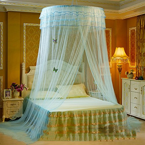 European princess dome mosquito net, Ceiling Hanging Court Double bed canopy -D 180x220cm(71x87inch) by DE&QW