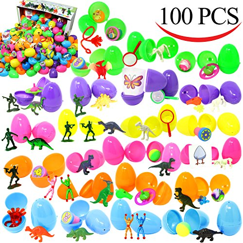 "Joyin Toy 100 Pieces Toy Filled Hinged 2 3/8"" Plastic Easter"