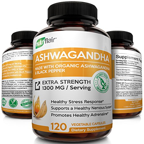 Organic Ashwagandha with Black Pepper - Maximum Strength 1300MG (120 Veggie Capsules) - Best Natural Supplement for Stress & Anxiety Relief, Mood Enhancer, Immune, Energy, Thyroid & Adrenal Support