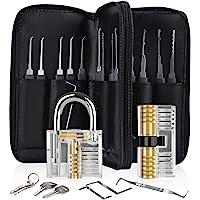 Diyife 33-Delige Lock Picking Set, Oefeningsslot Tool Kit met 2 Transparant Training Hangslot, voor Beginners en…
