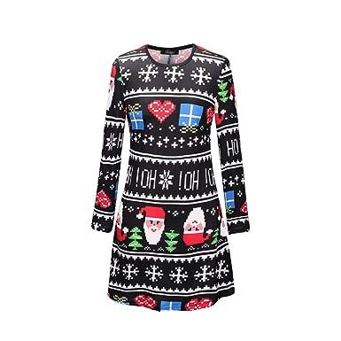 bb01675830d1 Yuanu Autunno Natale Elemento Cartoon Stampa Vestiti Mamma e Figlia Uguali