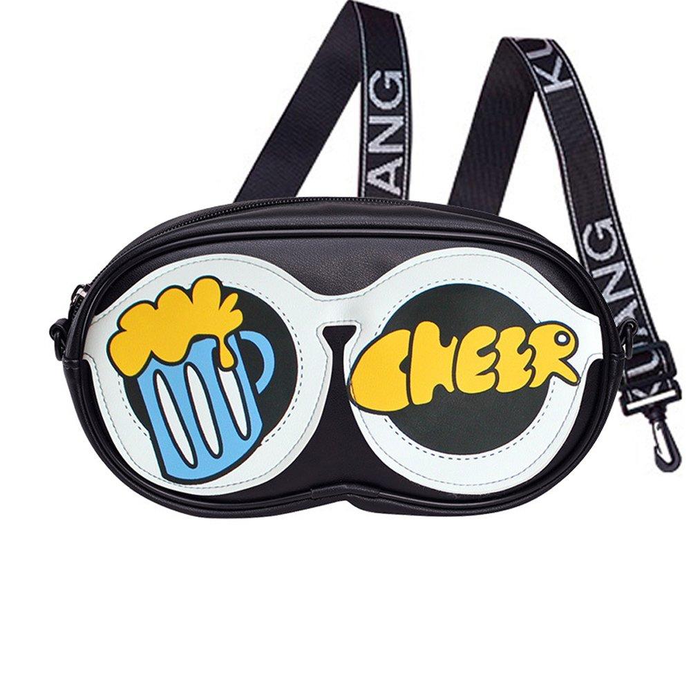 Novelty Graffiti Glasses Case Style Women's Messenger Bag, PU lambskin, Sport Wide Ribbon Shoulder Strap (Cheer)
