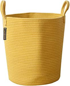 Mojesse Large Baskets for Blankets,Soft Cotton Rope Woven Storage Baskets with Strong Handles,Perfect for Nursery Laundry Basket,Kids Toy Hamper, Throw Blanket Basket for Living Room
