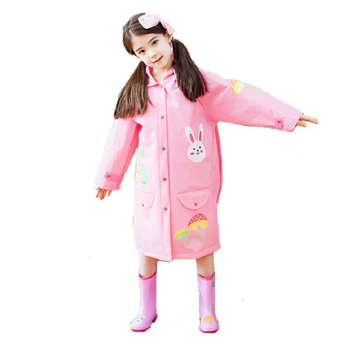 Triwonder Raincoat Rain Cape Ponchos for Kids Girls Boys with Backpack Position