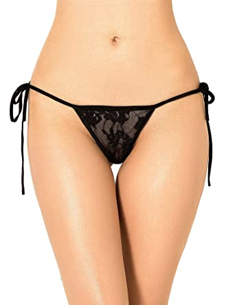77881f7fd3 ohyeahlady Women Side Tie Briefs G String3 Underwear Lace Panties Knickers  T Back Micro Thongs G-Strings  Amazon.co.uk  Clothing