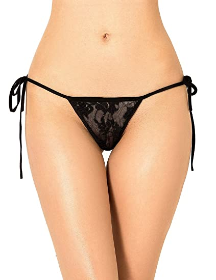 8867d451581 Image Unavailable. Image not available for. Color: ohyeahlady Women String  Panties Side Tie Briefs G String3 Underwear Lace Panties Knickers T Back  Micro