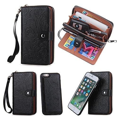(CASESOPHY Black Flower Magnetic Removable Wallet for Apple iPhone 6 iPhone 6s Regular Size 4.7