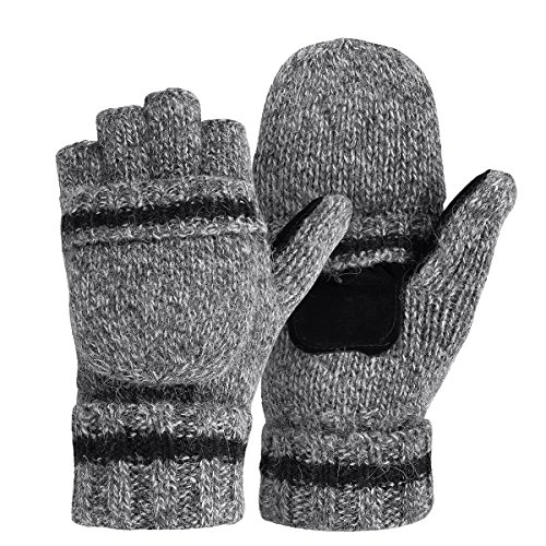OMECHY Winter Unisex Wool Knitted Fingerless Convertible Gloves with Mitten Cover One Size,Grey