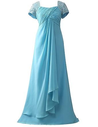 Bestbewertet echt 100% authentisch Top-Mode Brautmutterkleider Lang A-Linie Empire Chiffon Pailletten Hochzeit Kleider  Abendkleider Partykleider