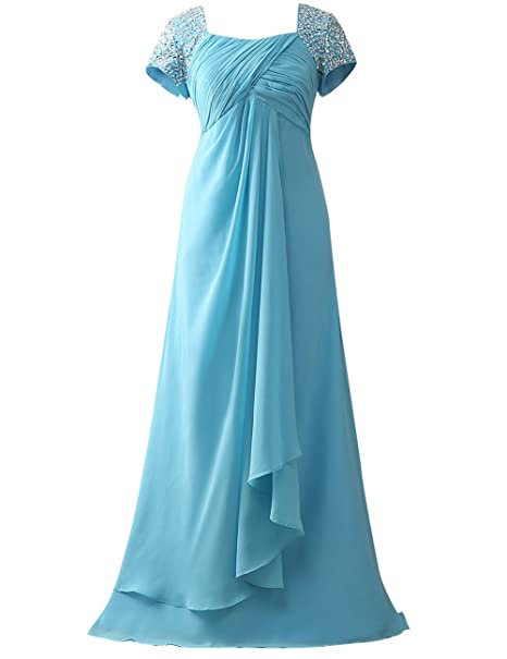 HUINI Gorra Mangas Rosario Largo Gasa Paseo Vestidos formales Madre de la novia Vestidos tama?