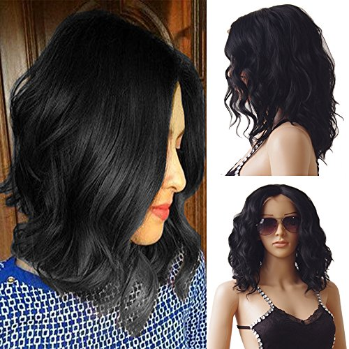 Body Wave Synthetic Lace Front Wigs Short Loose Hair Glueless Bob Wig for Women Costume Party Dress (Natural Black (Costume Direct New Business)