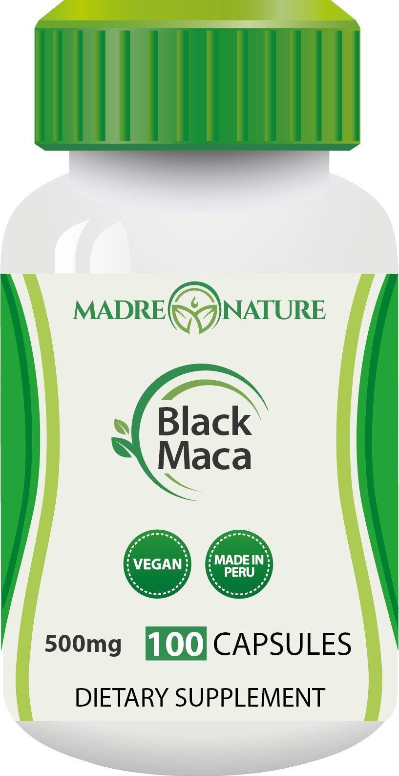 Madre Nature - Organic Gelatinized Black Maca Root Supplement from Peru - 500mg X 100 Capules (Vegan) - Peruvian Andes - Gluten-free