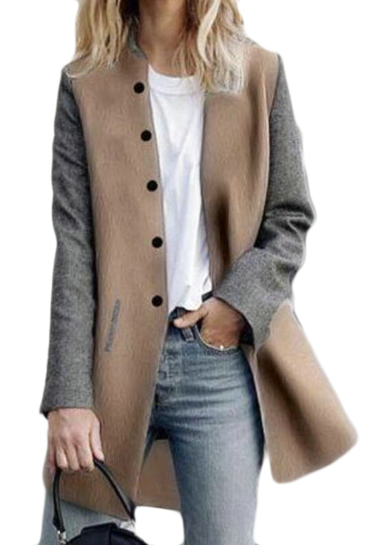 S-Fly Women's Fashion Color-Block Single-Breasted Woolen Coat Outerwear 1# US M