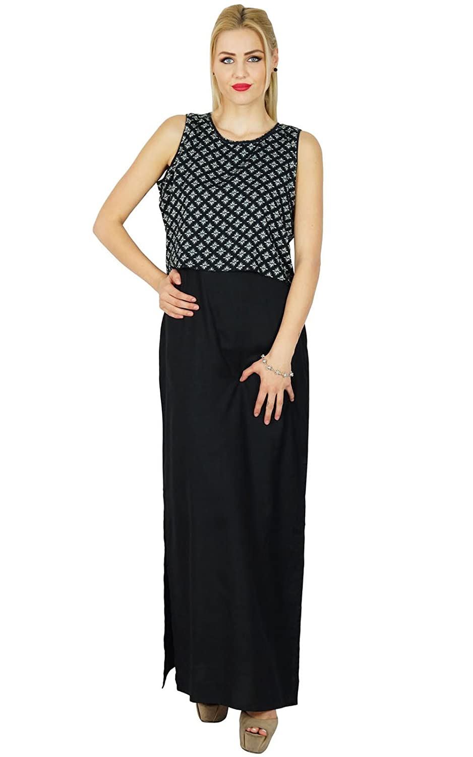 Bimba Women Long Maxi Black Sleeveless Slit Dress Comes With Printed Poncho Crop Top