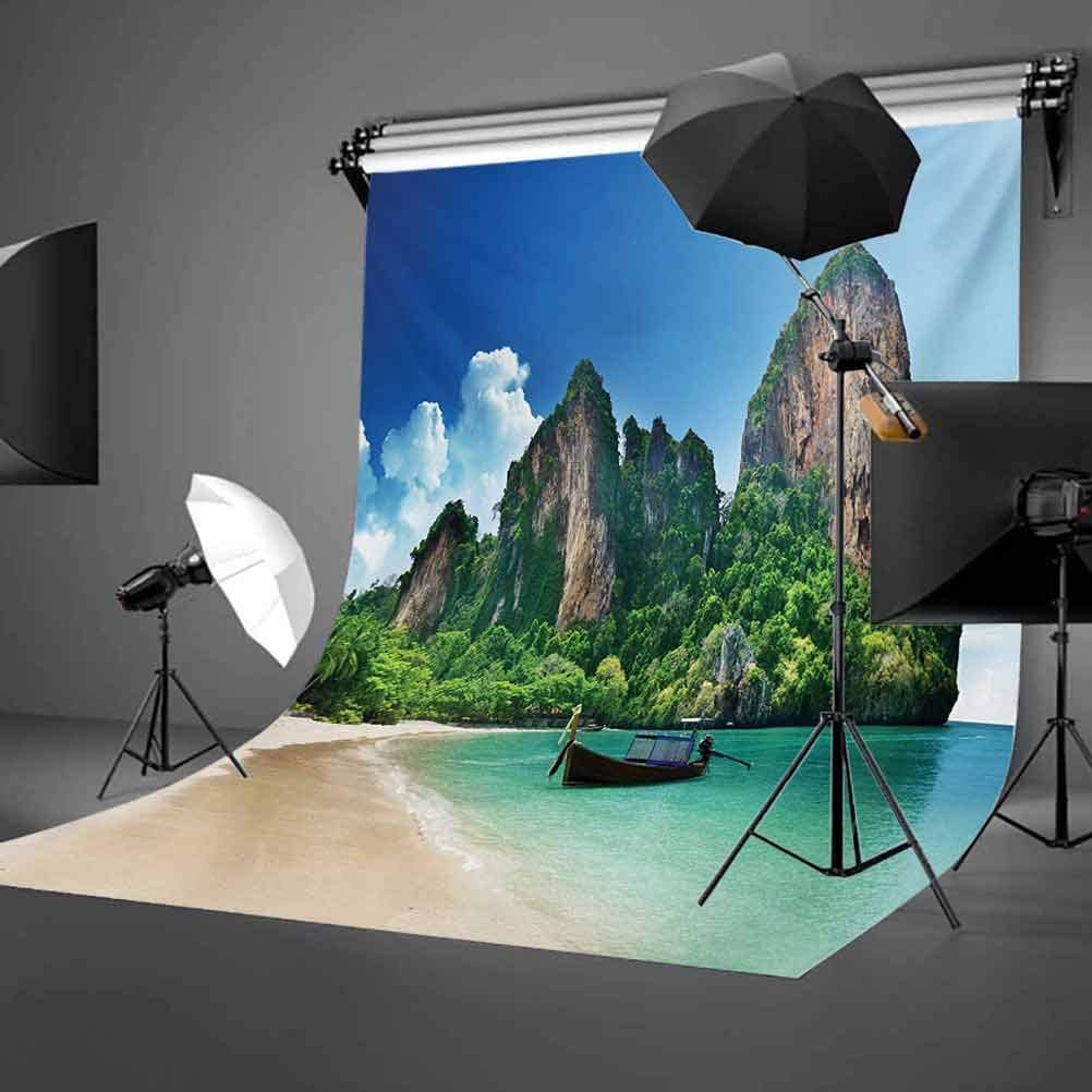 Railay Beach Krabi Thailand Small Boat Crystal Water Rock Cliff Tropical Landscape Background for Child Baby Shower Photo Vinyl Studio Prop Photobooth Photoshoot 10x12 FT Photography Backdrop