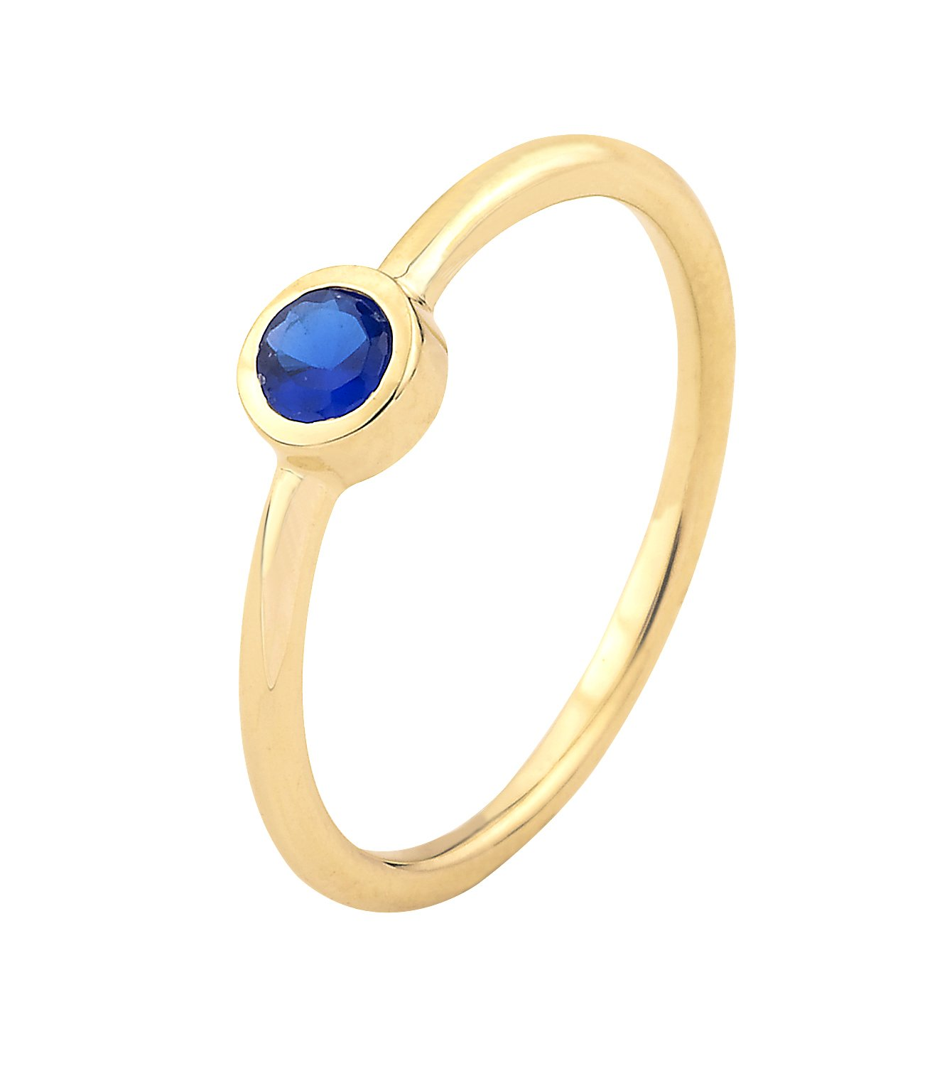 14k Yellow Gold Bezel Set Blue Cubic Zirconia September Birthstone Ring (7.5)