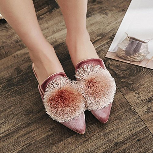 Plush Slippers Pink Spring Sandals Suede Black Women Summer Shoes Flip Green Pink Flops GAOLIXIA Burgundy qw1R8B7