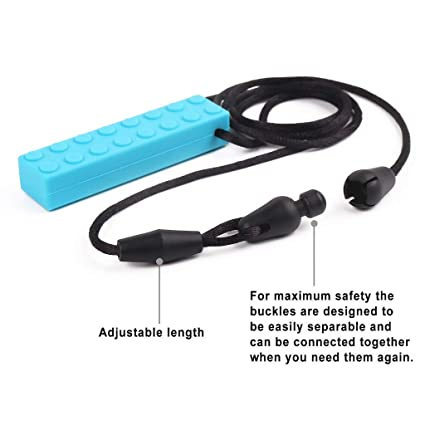 Chewing Brick Sensory Chew Silicone Necklace Pendant BPA Free Autism ADHD Toy