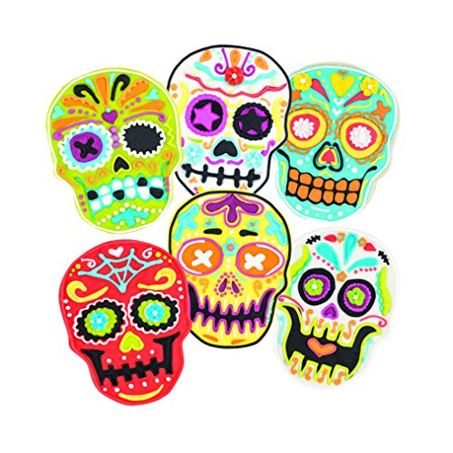 Tovolo Sugar Skull Templates Reverse, Dishwasher Safe, Set of 6 Cookie Stamps with Cutter -