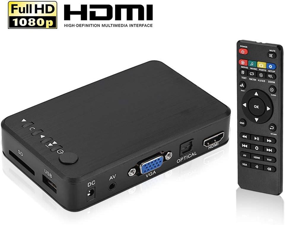 Reproductor Multimedia, HDMI 1080P HD Audio y Video con Control Remoto IR 110V-240V, Reproducir Películas/Música/Fotos/Archivos Directamente en su Televisor(EU)